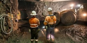 mining employees on the tunnel